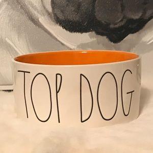 Rae Dunn TOP DOG medium dog bowl Orange NEW